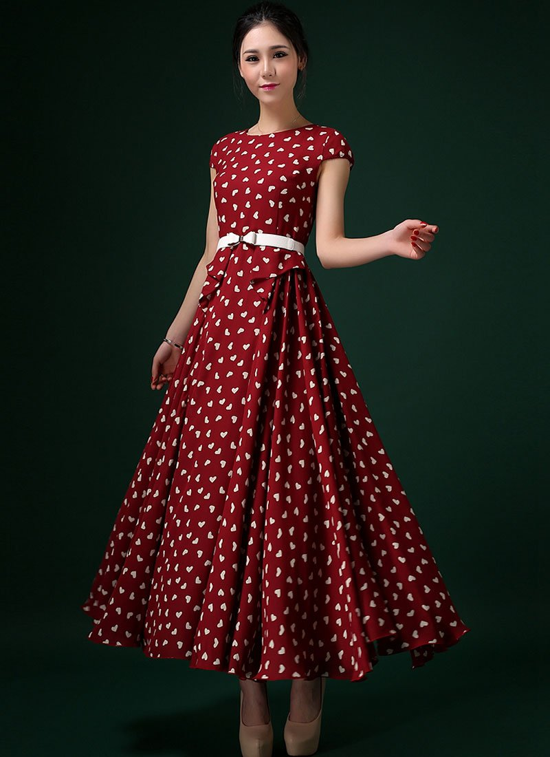 Heart Printed Wine Red Maxi Dress with Layer-pleated Waist RM293