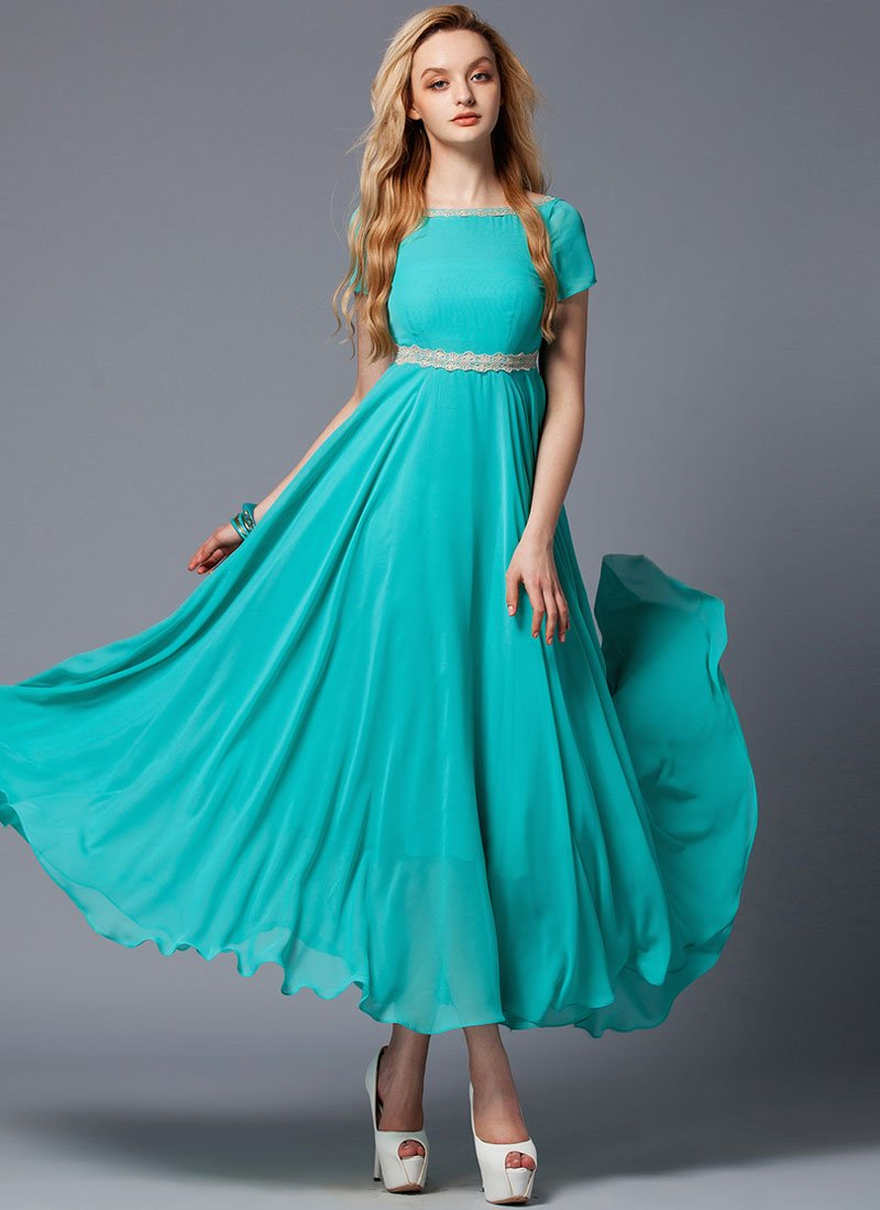 V Back Dark Turquoise Maxi Dress with Beige Lace Trim Details RM302