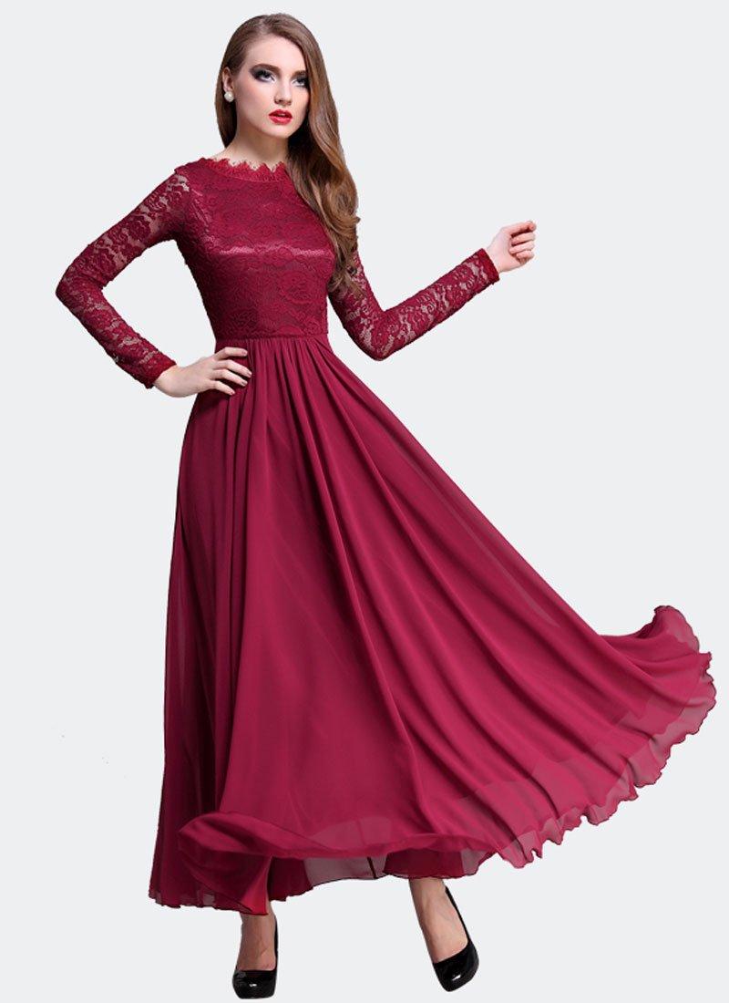 Maroon Lace Chiffon Maxi Dress with V Back and Eyelash Details RM310