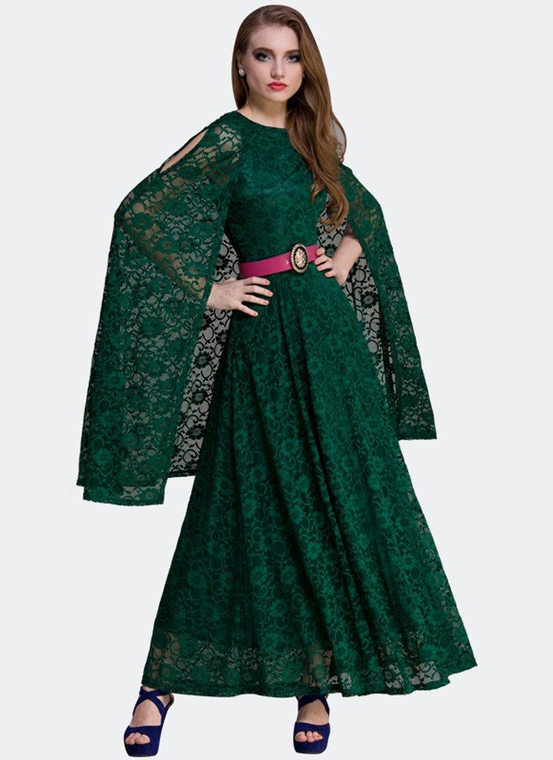 Dark Green Lace Maxi Dress with Cloak RM312