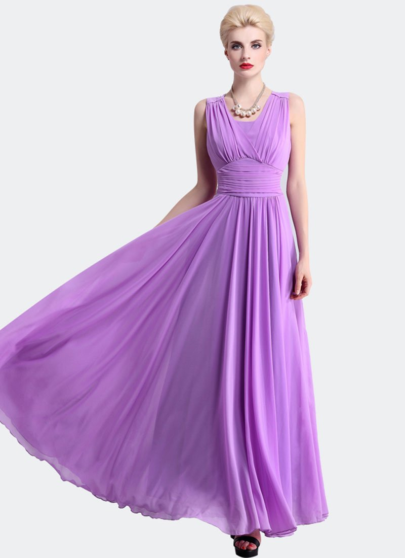 Radien Orchid Maxi Dress with V Neck and Wide Ruched Waist Yoke RM319