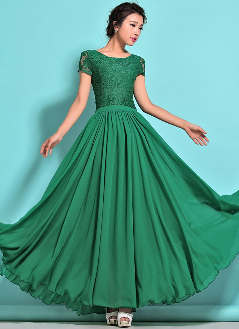 Emerald Green Lace Chiffon Maxi Dress with Cap Sleeves RM320