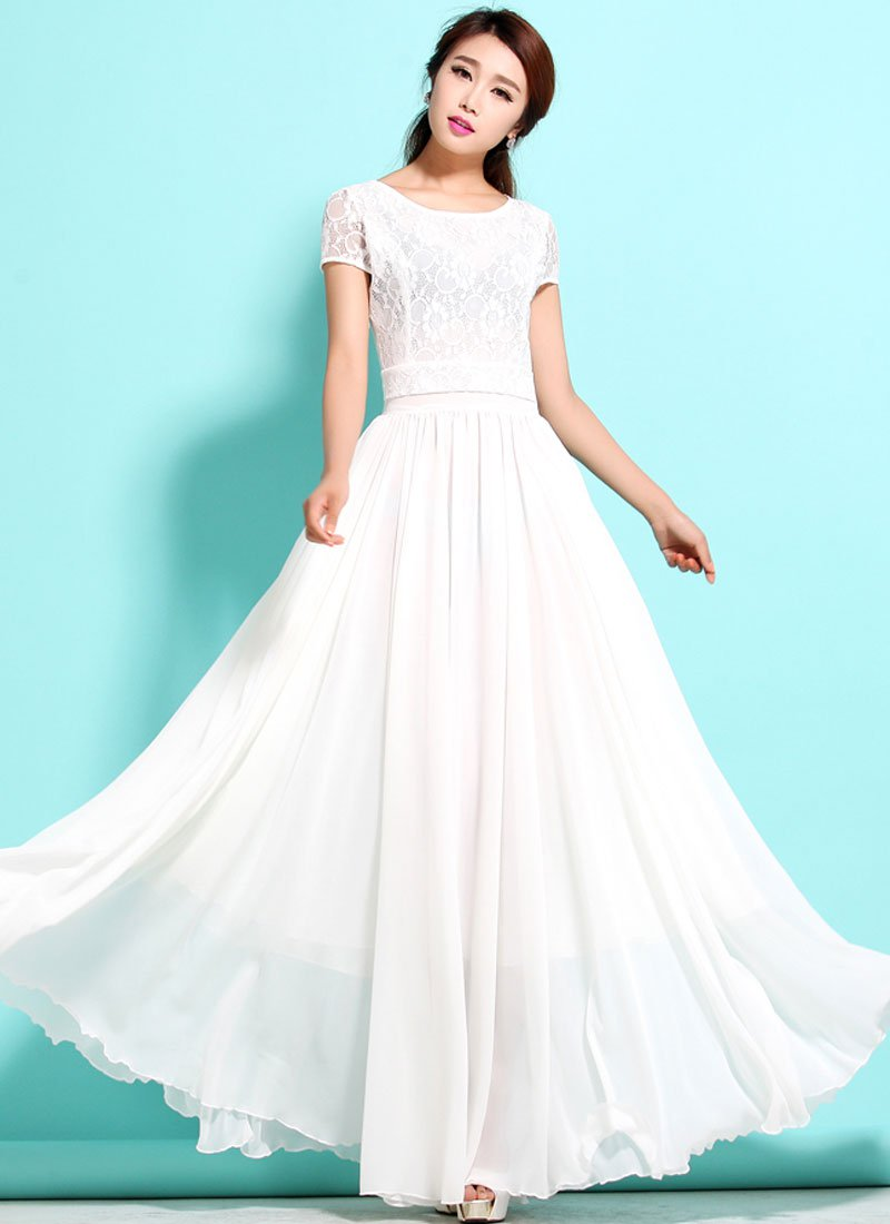 White Lace Chiffon Maxi Dress with Cap Sleeves RM320