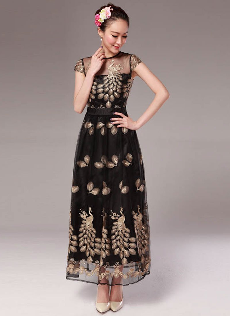 Peacock Embroidered Black Organza Maxi Dress with Cap Sleeves RM333
