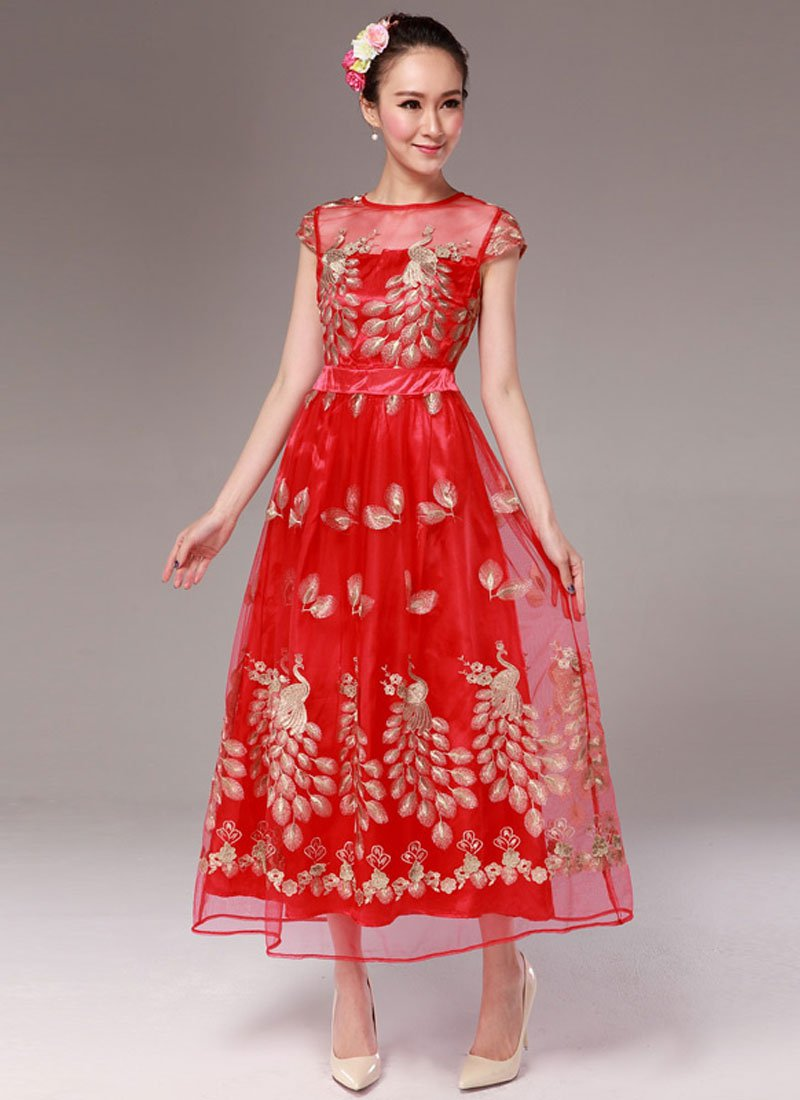 Peacock Embroidered Red Organza Maxi Dress with Cap Sleeves RM333