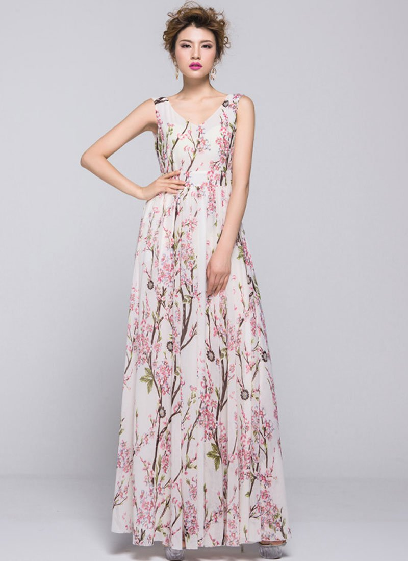 Oriental Cherry Blossom Maxi Dress with V Back RM334