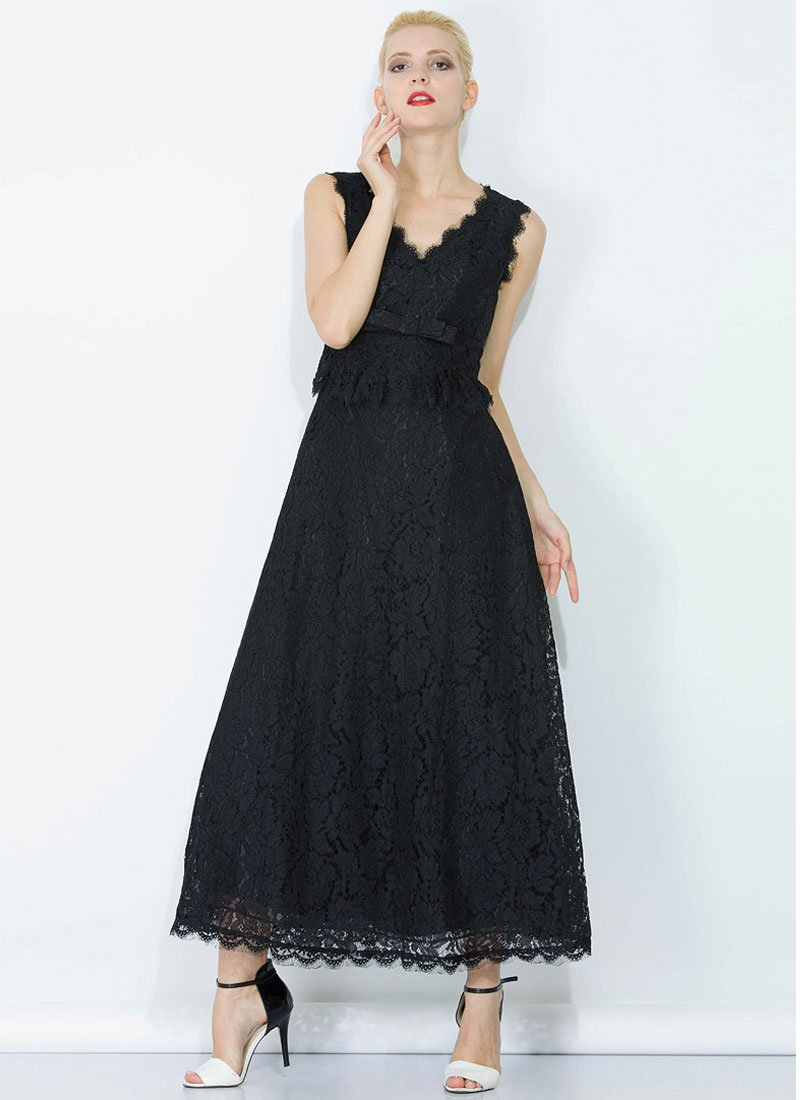Black Lace Peplum Maxi Dress with Bow Belt and Eyelash Details RM345