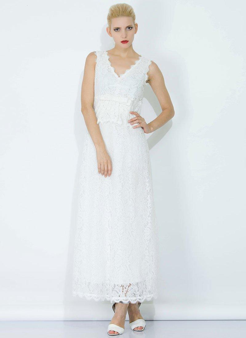 White Lace Peplum Maxi Dress with Bow Belt and Eyelash Details RM345