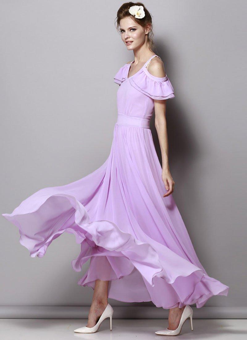 Open Shoulder Violet Chiffon Maxi Dress with Flounce Details RM347