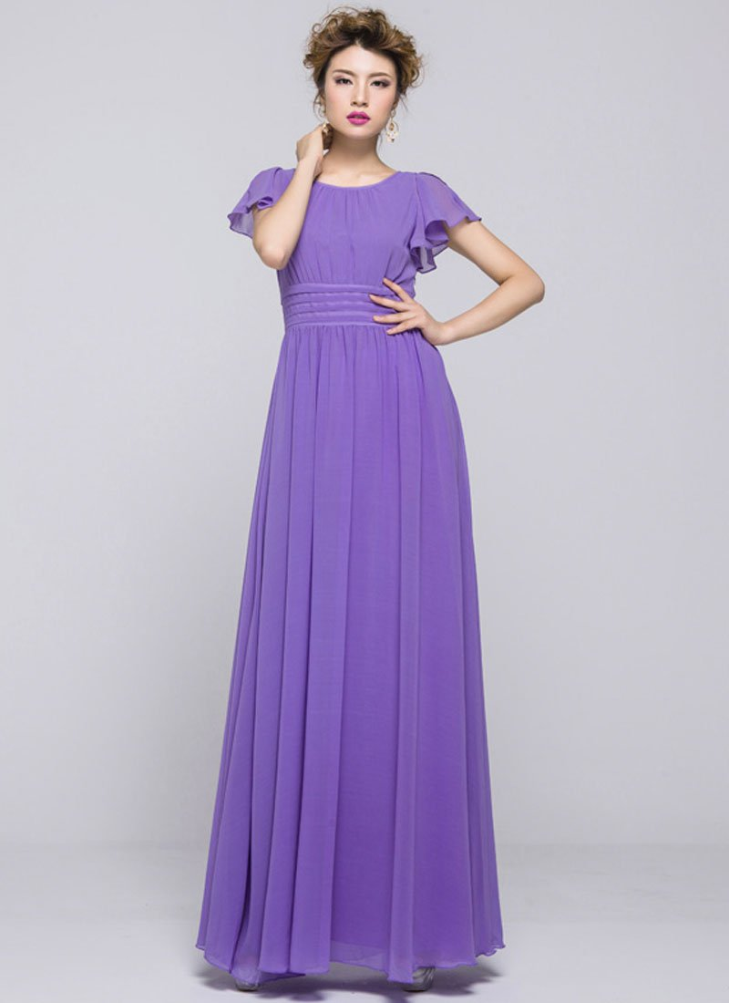 Purple Maxi Dress with Pleated Waist Yoke and Flutter Sleeves RM351