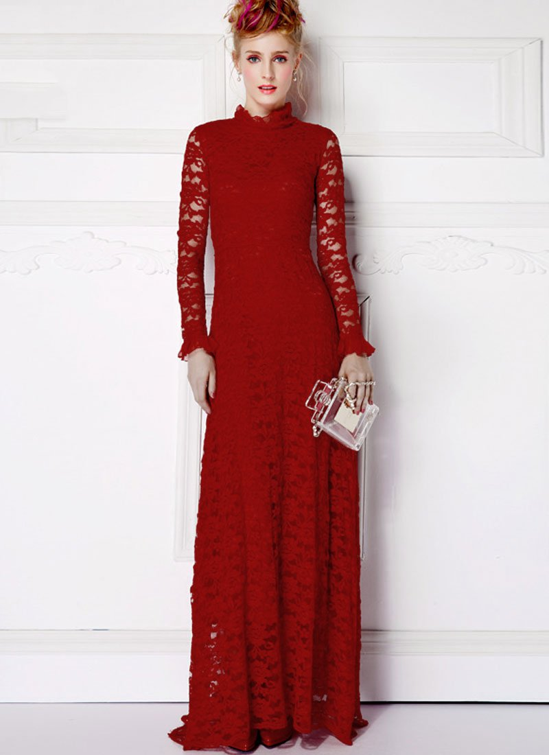 Long Sleeved Maroon Lace Maxi Dress with Ruffled Neck and Cuff RM359