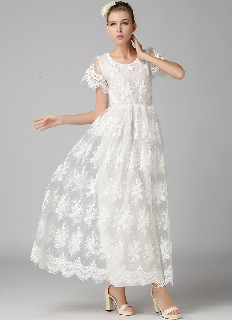 White Embroidered Organza Lace Maxi Dress with Scalloped Hem RM365