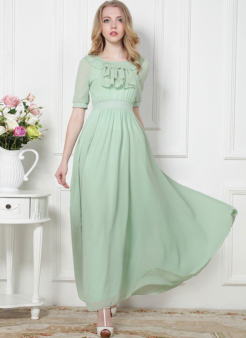 Light Mint Green Maxi Dress with Flounce and Drape Embellished Neck RM366
