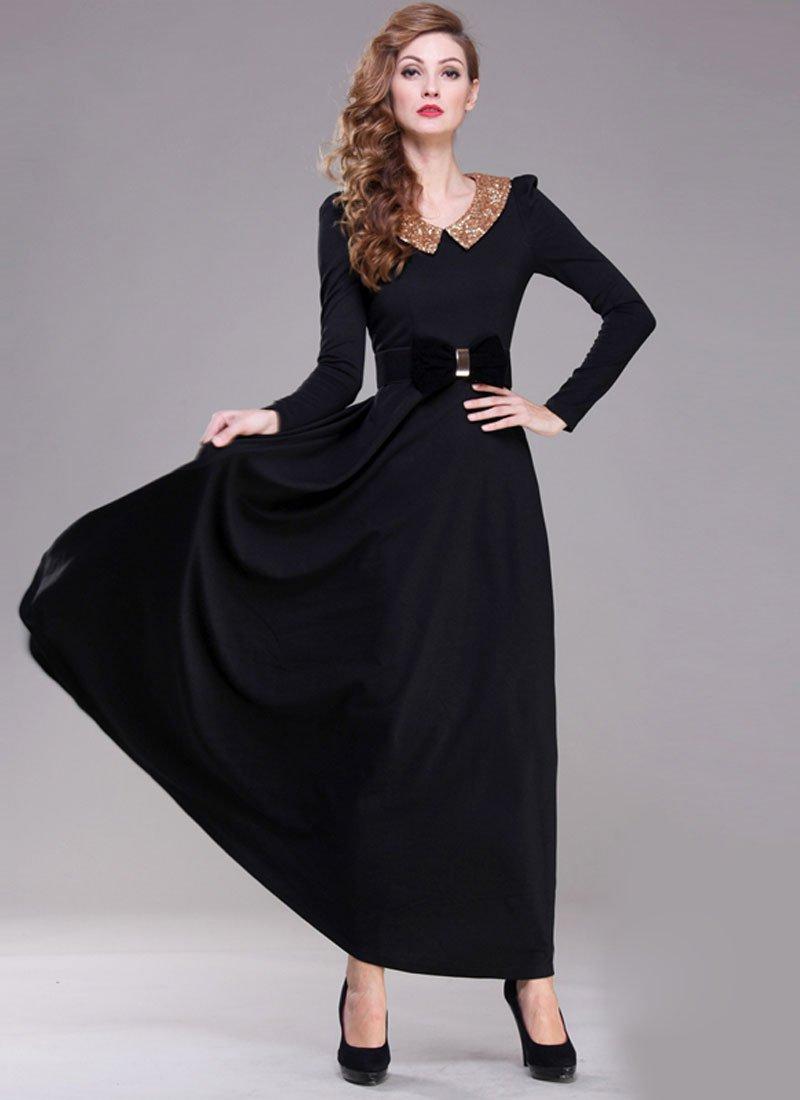 Black Maxi Dress with Sequined Peter Pan Collar RM369