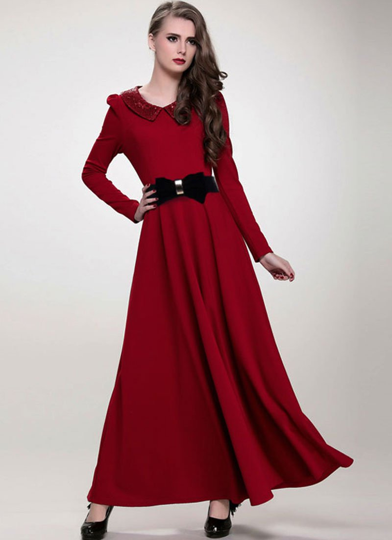 Maroon Maxi Dress with Sequined Peter Pan Collar RM369
