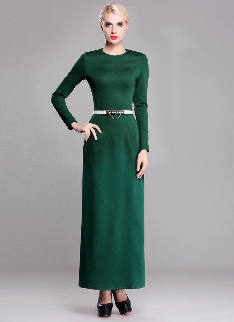 Long Sleeve Green Sheath Maxi Dress RM371