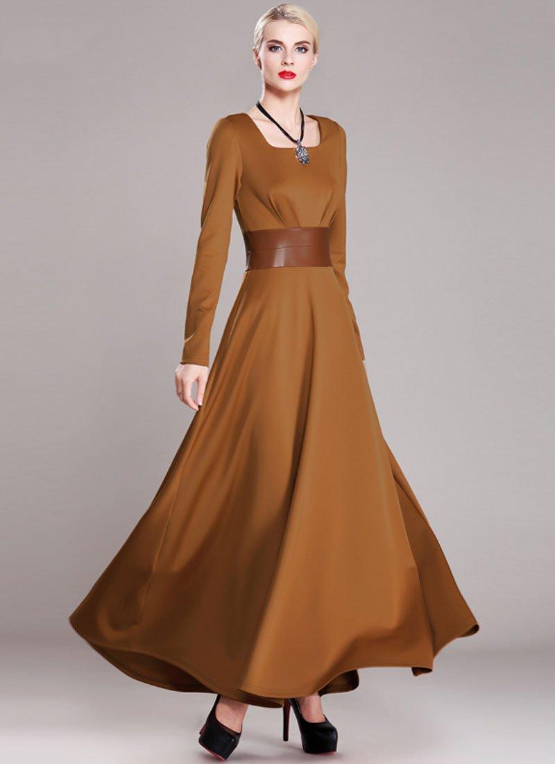 Sienna Maxi Dress with Square Collar and PU Leather Waist Yoke RM374