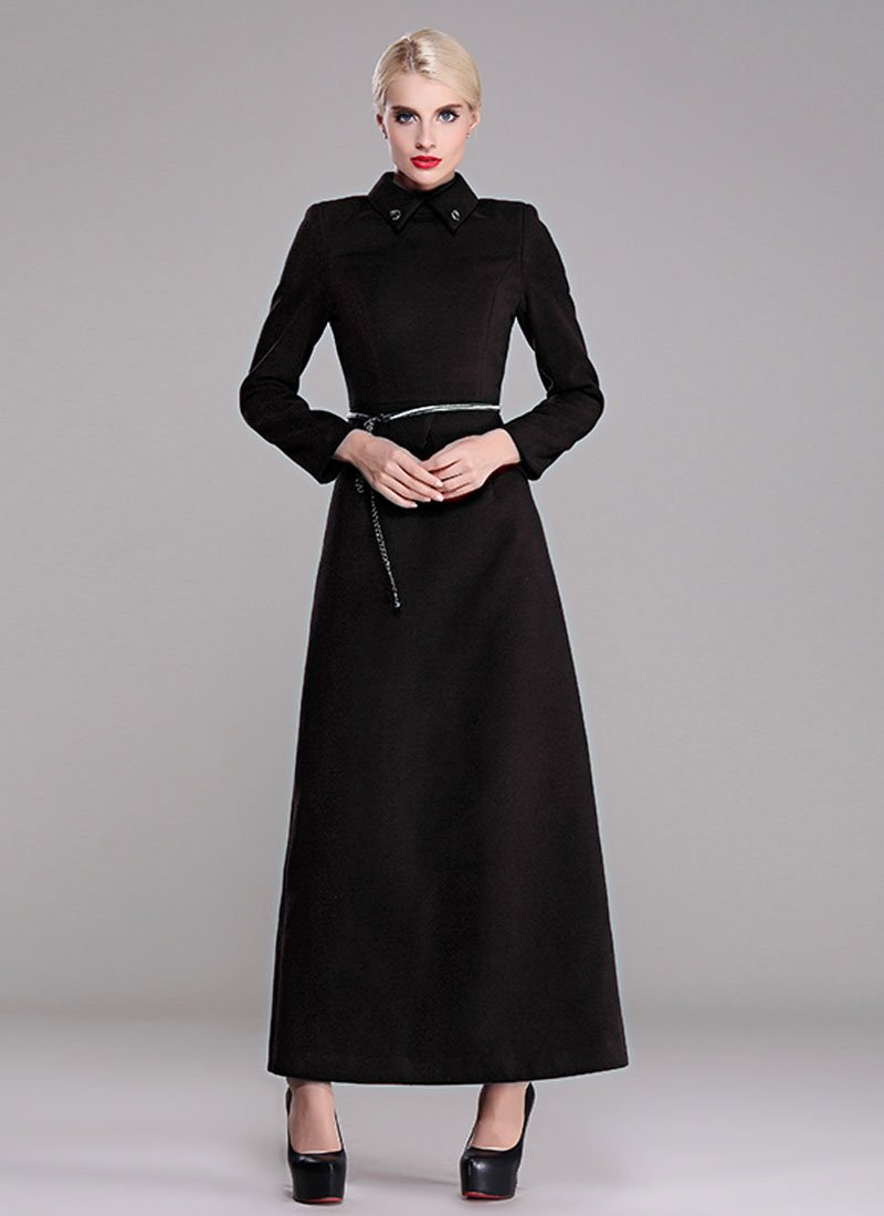 Black Wool Blend Maxi Dress with Asymmetric Peplum RM379