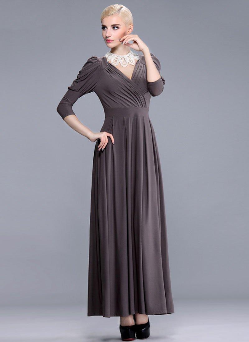 V Neck Dark Brown Maxi Dress with Bishop Sleeves RM392