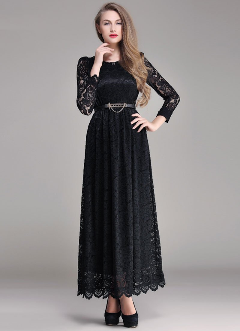 Black Lace Maxi Dress with Scalloped Hem and Cabochon Embellished Neck RM393