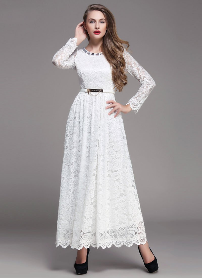 White Lace Maxi Dress with Scalloped Hem and Cabochon Embellished Neck RM393