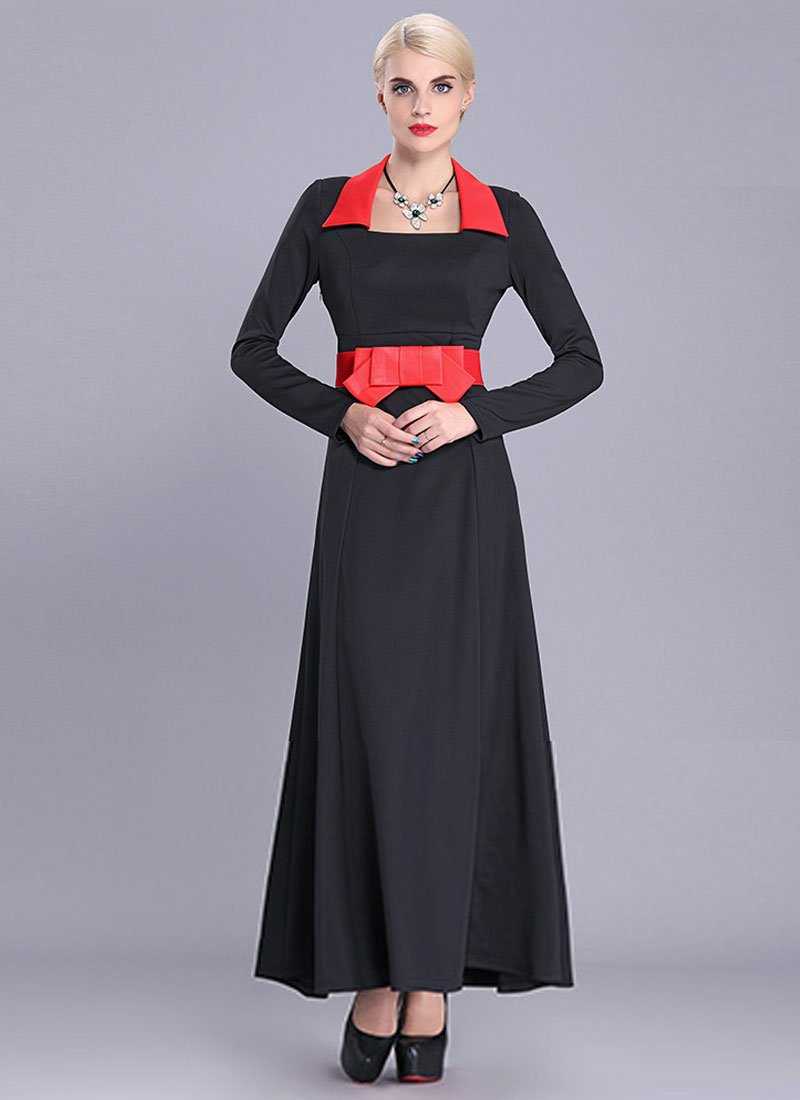 Black Maxi Dress with Oversized Red Bow Belt RM399