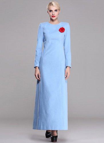 Long Sleeve Light Blue Wool Maxi Dress RM401