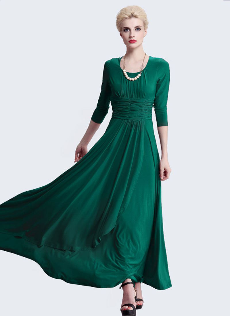 Half Sleeved Emerald Green Maxi Dress with Ruched Wide Waist Yoke RM402