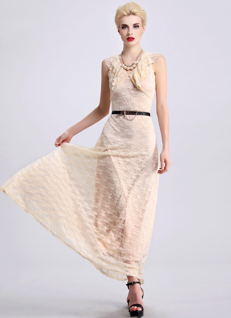 Beige Lace Maxi Dress with Draped Neckline RM410