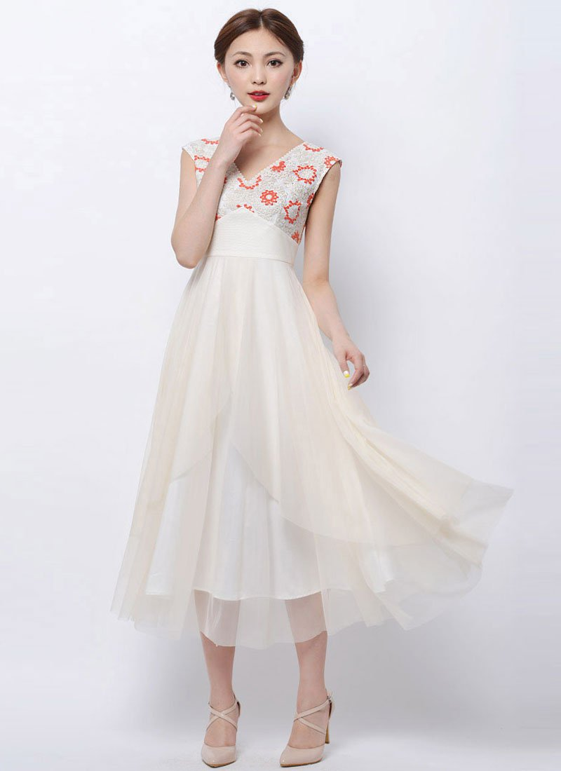 Ivory Lace Tulle Maxi Dress with Orange Embroidery and Asymmetric Skirt RM92
