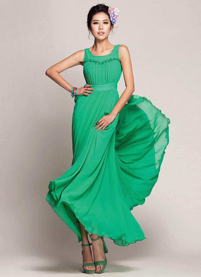 Green Chiffon Maxi Dress with Ruffled Top and Flounce Details RM417