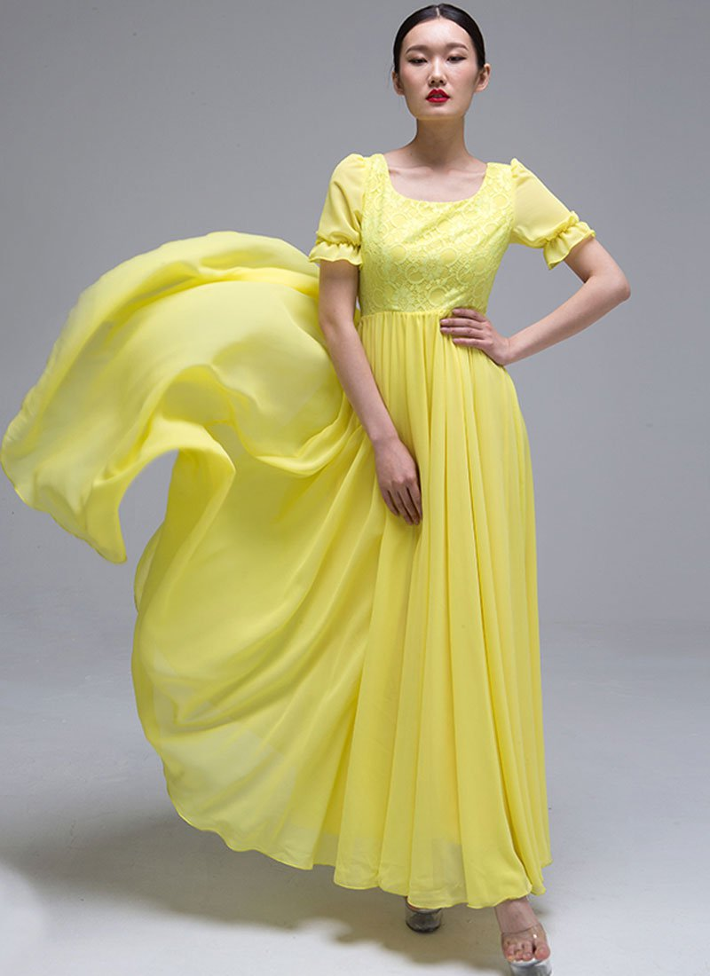 Yellow Lace Chiffon Maxi Dress with Puff Sleeves RM418