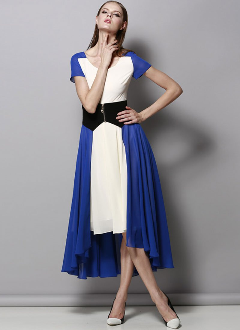 Ivory and Blue Hi Lo Hem Mixi Dress with Black Waist Yoke RM422