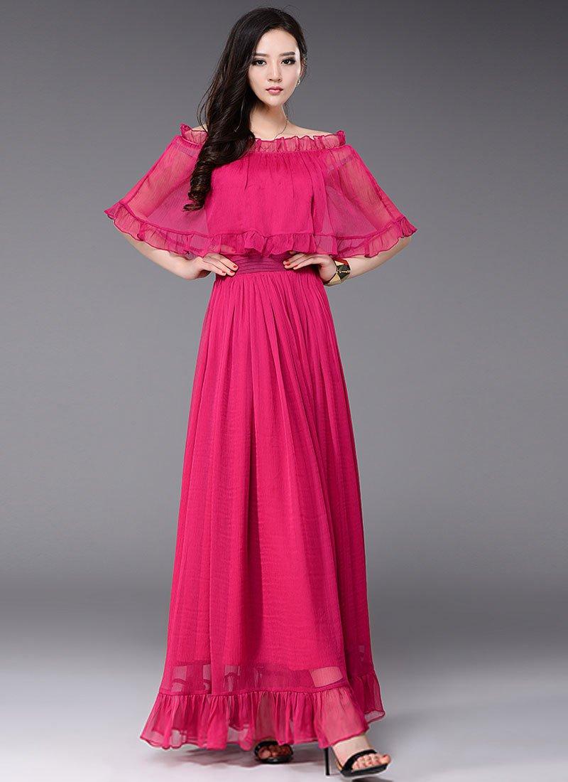 Off-Shoulder Deep Pink Maxi Dress with Cloak Top RM433