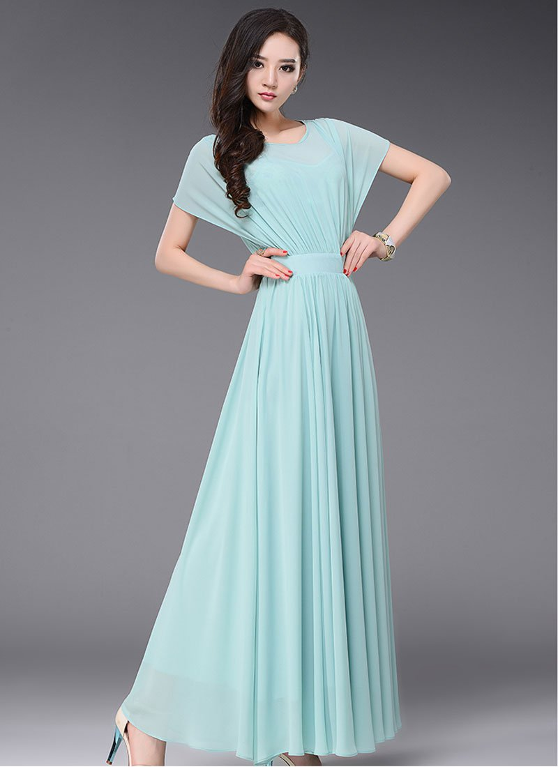 Pale Turquoise Maxi Dress with Dolman Sleeves RM435