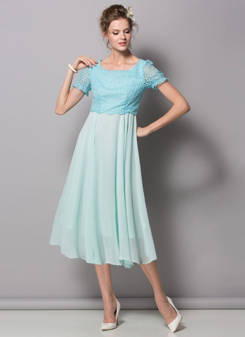 Aqua Lace Chiffon Midi Dress with Puff Sleeves RM439