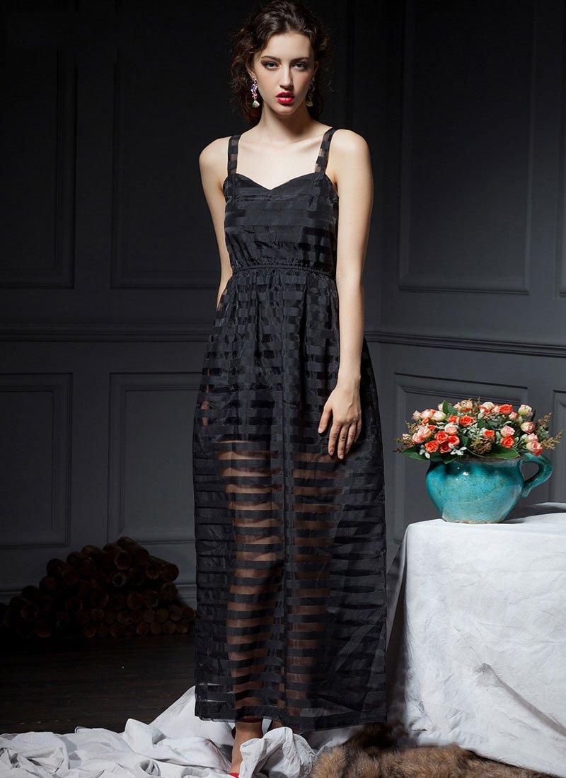 Black Stripe Organza Maxi Dress RM441