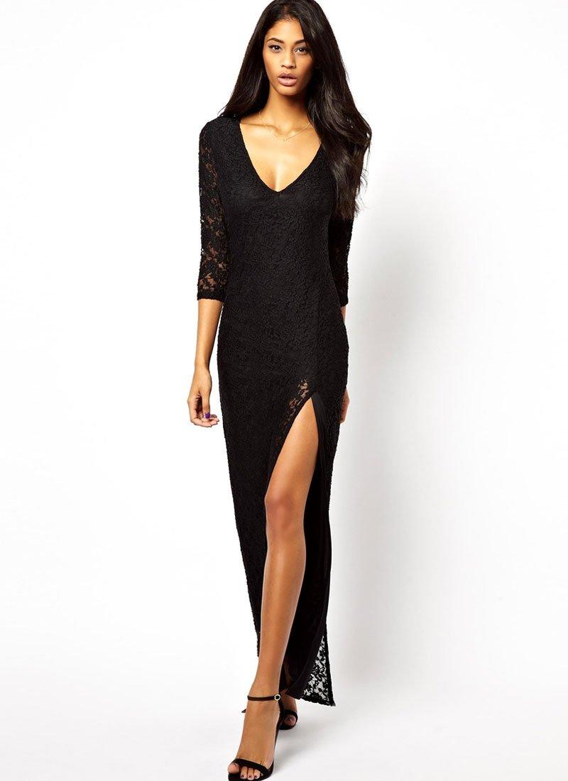 V Neck Black Maxi Dress with High Slit RM442