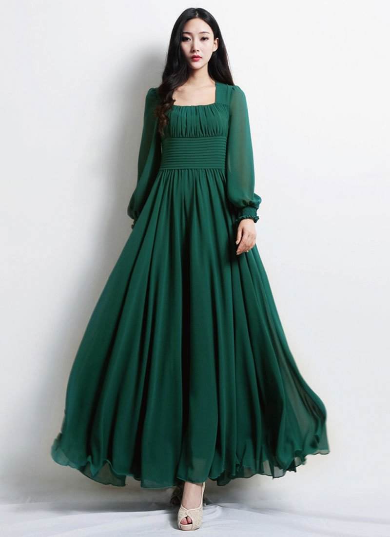 Empire Waist Emerald Green Maxi Dress with Square Neck RM444