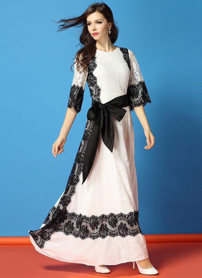 White Lace Chiffon Maxi Dress with Black Eyelash Lace Details RM445