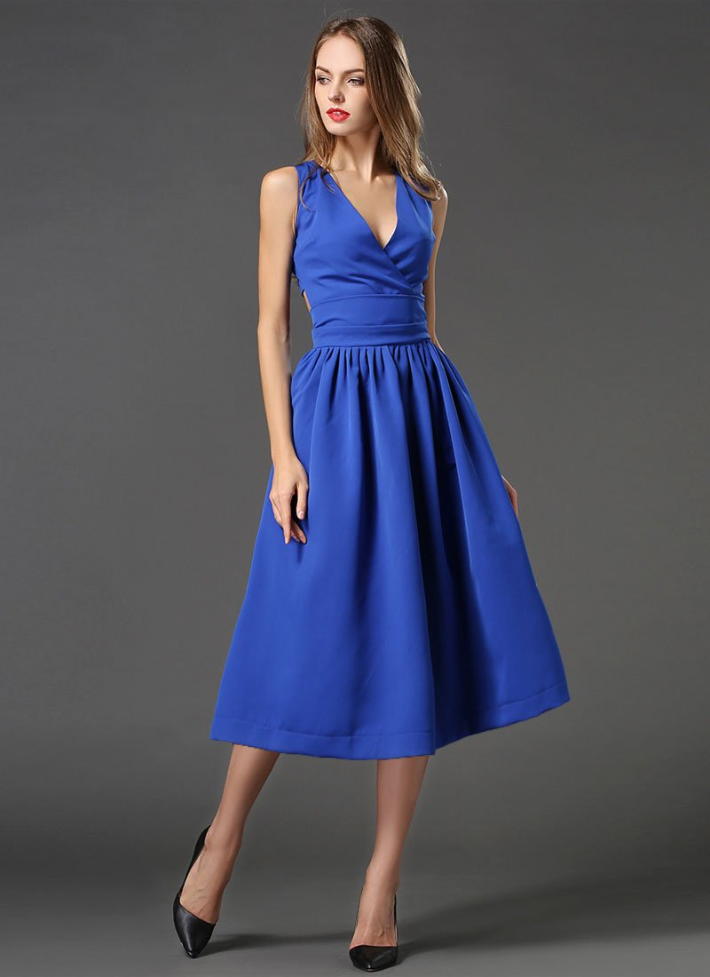 V Neck Sapphire Blue Midi Dress with Cut Back RM449