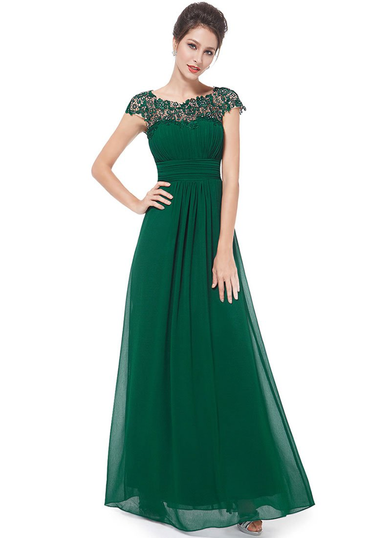 Embellished Open Back Green Lace Chiffon Evening Gown RM450
