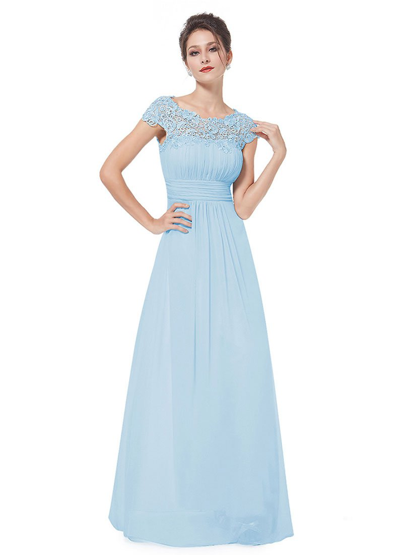 Embellished Open Back Light Blue Lace Chiffon Evening Gown RM450