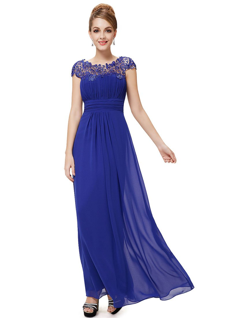 Embellished Open Back Royal Blue Lace Chiffon Evening Gown RM450