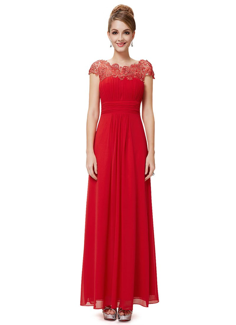 Embellished Open Back True Red Lace Chiffon Evening Gown RM450