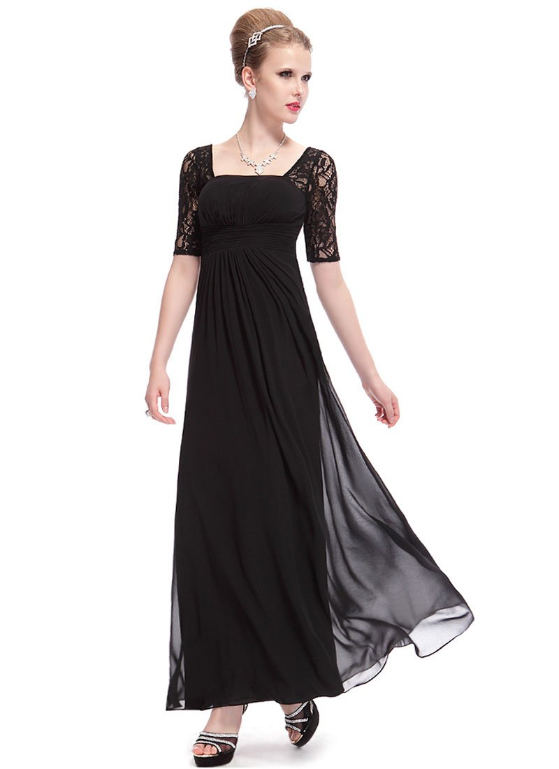 Empire Waisted Black Lace Chiffon Maxi Dress with Open Back RM452