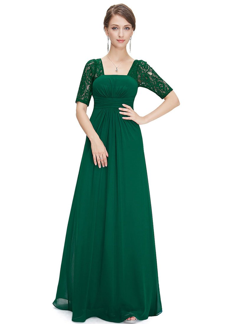 Empire Waisted Emerald Green Lace Chiffon Maxi Dress with Open Back RM452