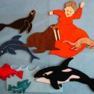 Old Lady Who Swallowed a Trout 9 pc felt set