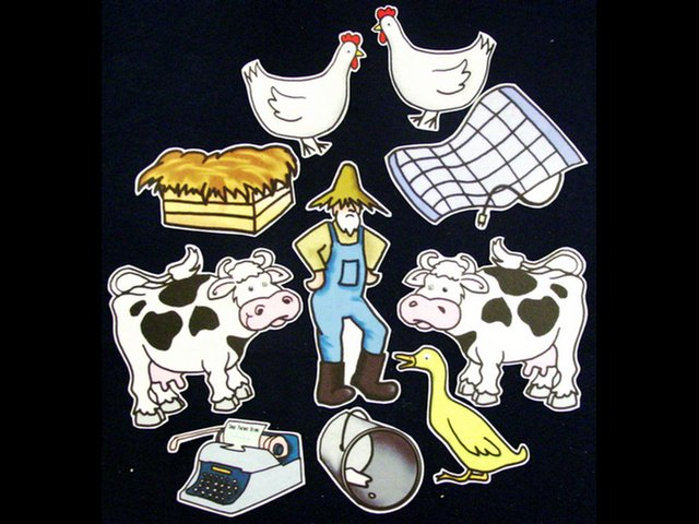 Click Clack Moo Cows that Type 10-pc Flannel Felt Story