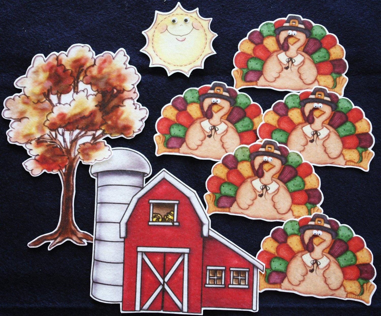 Five Little Turkeys 8-pc Flannel Felt Story